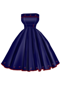 blue,cherry,embroider,dress