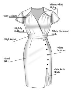 gathers,white,piping,dress