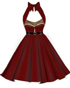leopard,red,black,dress