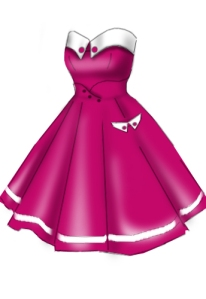 pink,cute,retrodress