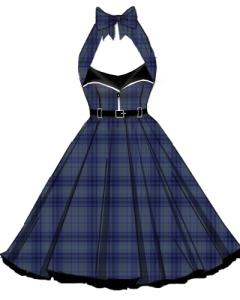 plaid,retro,zipper,dress