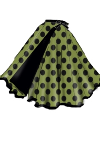 polkadot,green,black,wrapskirt