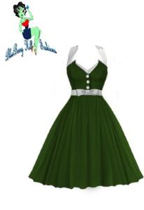bbh,green,rockabilly,dress