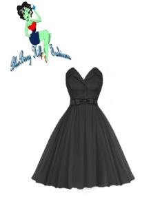 rockabilly,dress,black,fold