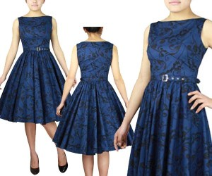 rockabillydress-plussizedress-floraldress-bluedress-blackdress-plusizemodel