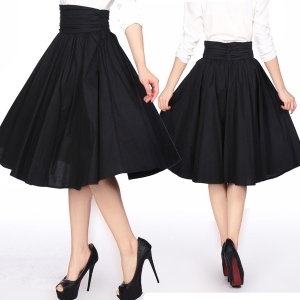 black swing skirt - high waist skirt