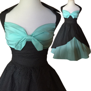 mint green dress- rockabilly dress-black polka dot dress