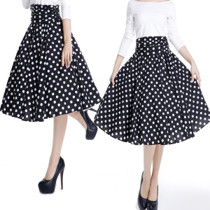 polka dot skirt - high waist skirt