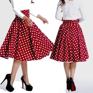 red polka dot skirt - swing skirt