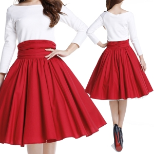 red rockabilly skirt - high waist skirt
