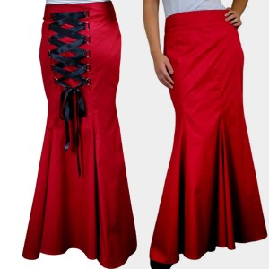 gothic skirt, red skirt, corset skirt