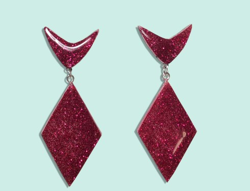 red-retro-sparkle earrings